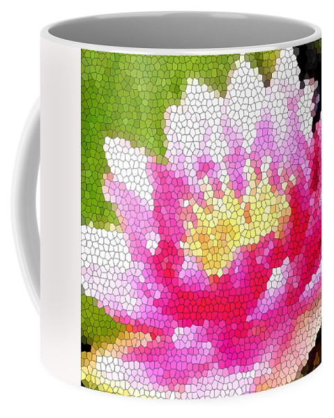 Abstract Art Coffee Mug featuring the digital art Stained Glass Waterlily by Barbara Griffin