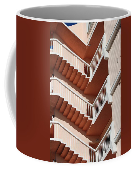 Architecture Coffee Mug featuring the photograph Stairs And Rails by Rob Hans