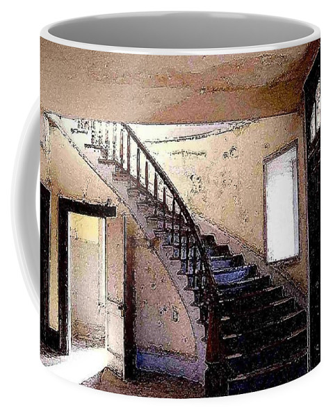 Meade Hotel Coffee Mug featuring the photograph Stairway - Meade Hotel - Bannack Mt by Nelson Strong