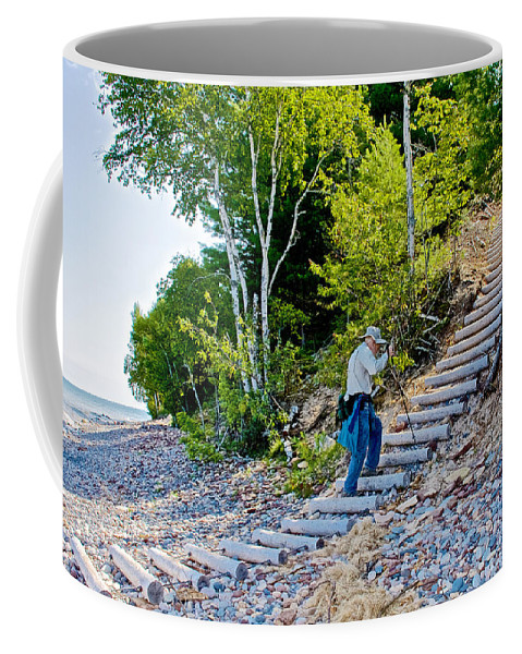 Stairway From Lake Superior Beach To Au Sable Lighthouse In Pictured Rocks National Lakeshore Coffee Mug featuring the photograph Stairway From Lake Superior Beach To Au Sable Lighthouse In Pictured Rocks National Lakeshore-michig by Ruth Hager