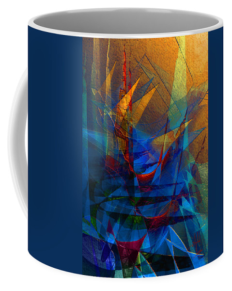 Abstract Coffee Mug featuring the digital art Stairway Upon Grail Passeges by Stephen Lucas