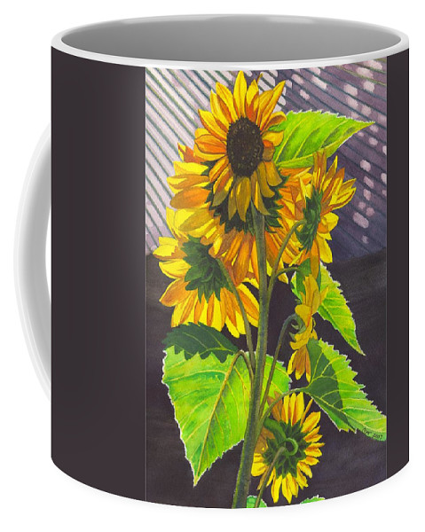 Sunflowers Coffee Mug featuring the painting Stalk Of Sunflowers by Catherine G McElroy