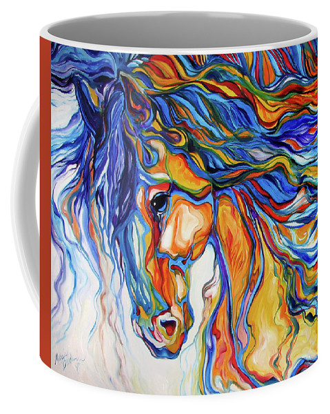 Equine Coffee Mug featuring the painting Stallion Southwest By M Baldwin by Marcia Baldwin