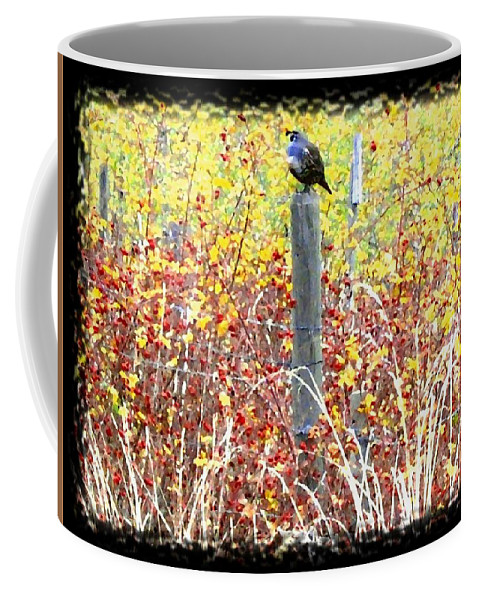 Quail Coffee Mug featuring the digital art Standing Guard by Will Borden