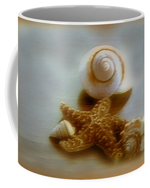 Beach Art Coffee Mug featuring the photograph Star And Shells by Linda Sannuti
