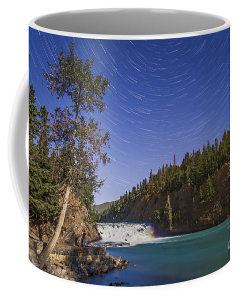 Alberta Coffee Mug featuring the photograph Star Trails And Moonbow Over Bow Falls by Alan Dyer