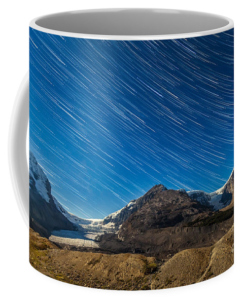 Athabasca Glacier Coffee Mug featuring the photograph Star Trails Over Columbia Icefields by Alan Dyer