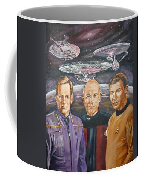 Star Trek Coffee Mug featuring the painting Star Trek Tribute Enterprise Captains by Bryan Bustard