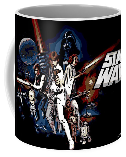 Star Wars Poster Coffee Mug featuring the photograph Star Wars Movie Poster by George Pedro