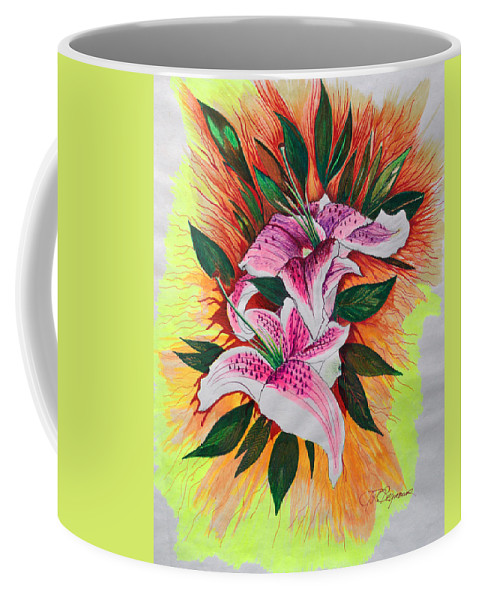Flowers Coffee Mug featuring the drawing Stargazers by J R Seymour