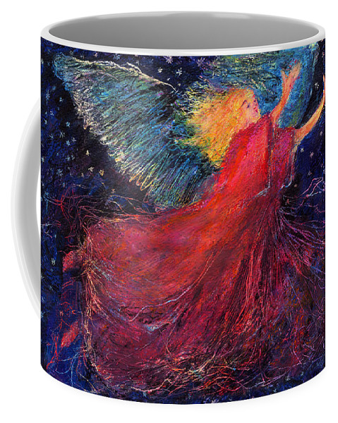 Angel Coffee Mug featuring the painting Starry Angel by Diana Ludwig