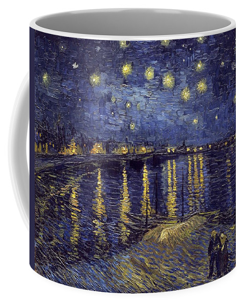Vincent Van Gogh Coffee Mug featuring the painting Starry Night Over The Rhone by Van Gogh