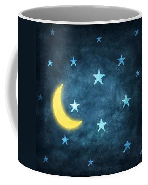 Art Coffee Mug featuring the photograph Stars And Moon Drawing With Chalk by Setsiri Silapasuwanchai
