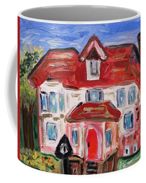 Urban Coffee Mug featuring the painting Stately City House by Mary Carol Williams
