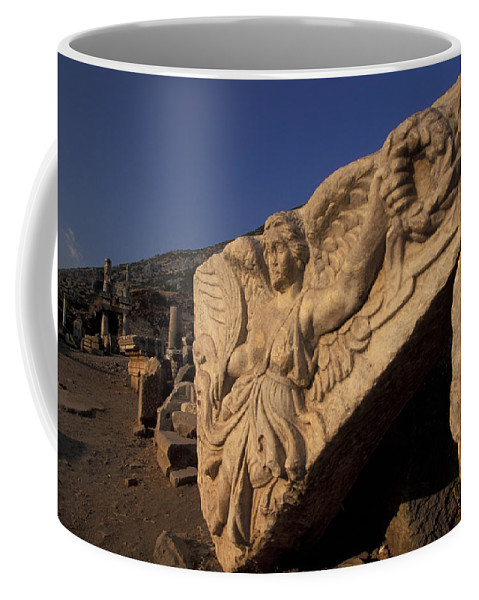 Temple Coffee Mug featuring the photograph Statue In The Temple Of Domitian by Richard Nowitz