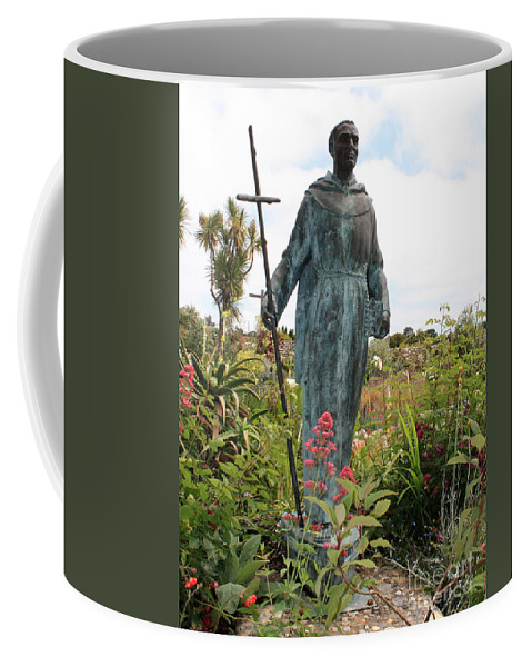 Father Serra Coffee Mug featuring the photograph Statue Of Father Serra At Carmel Mission by Carol Groenen