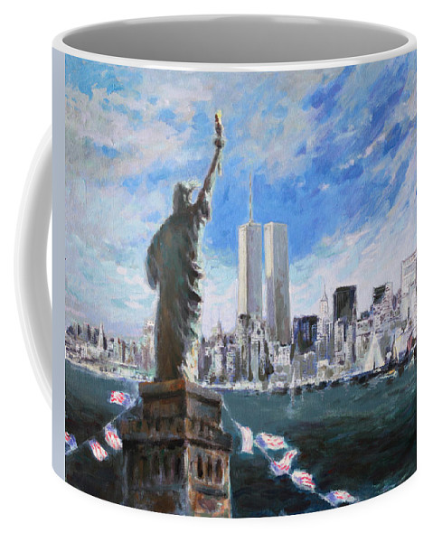 Landscape Coffee Mug featuring the painting Statue Of Liberty And Tween Towers by Ylli Haruni