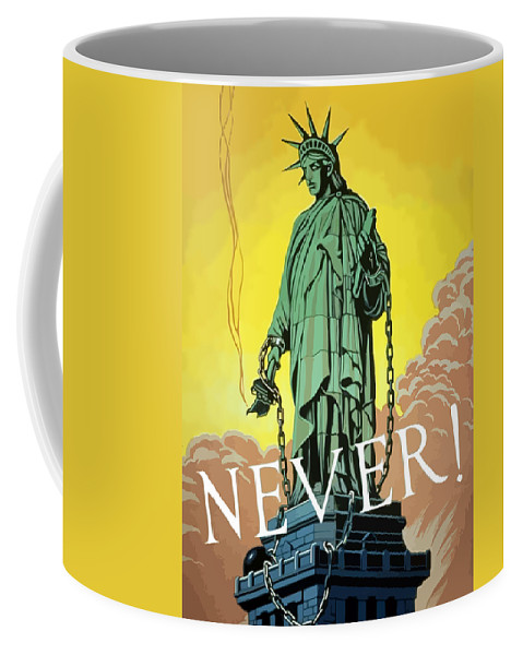 Statue Of Liberty Coffee Mug featuring the painting Statue Of Liberty In Chains -- Never by War Is Hell Store