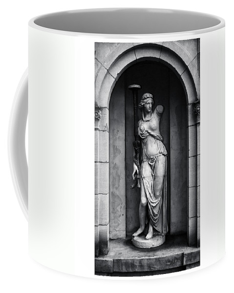 Black And White Coffee Mug featuring the photograph Statue Under Cover by Scott Wyatt
