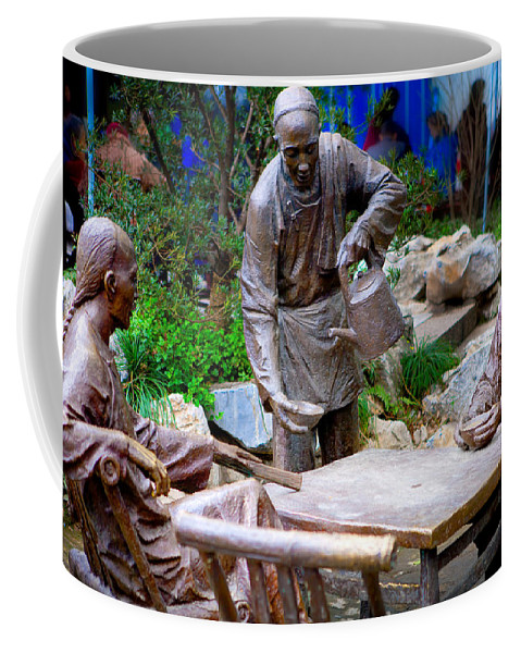 Park Coffee Mug featuring the photograph Statues Of After Noon Tea by James O Thompson