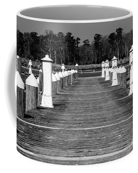 Pier Coffee Mug featuring the photograph Stay Between The Lines Bw by Amy Sorvillo