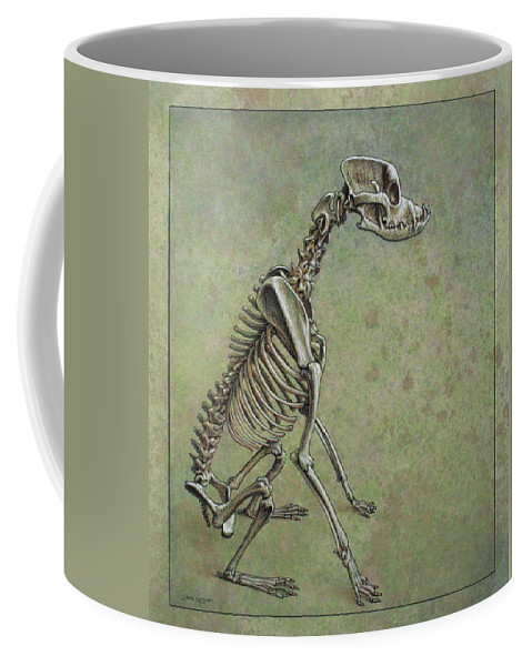 Dog Coffee Mug featuring the drawing Stay... by James W Johnson