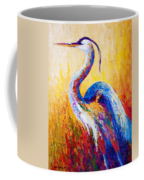 Heron Coffee Mug featuring the painting Steady Gaze - Great Blue Heron by Marion Rose