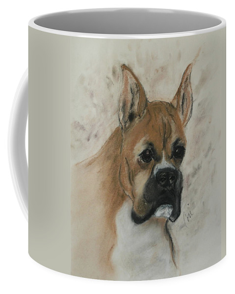 Dog Coffee Mug featuring the drawing Steady Goes It by Cori Solomon