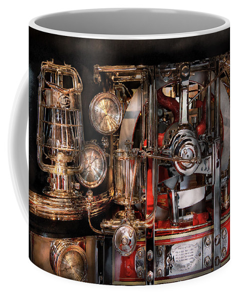 Hdr Coffee Mug featuring the photograph Steampunk - Check The Gauges by Mike Savad