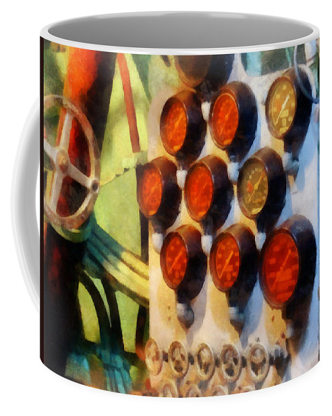 Steampunk Coffee Mug featuring the photograph Steampunk - Gauges In Torpedo Room by Susan Savad