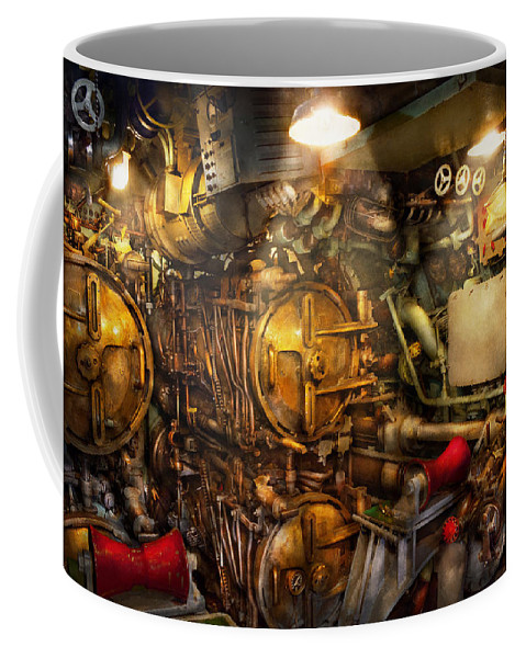 Steampunk Coffee Mug featuring the photograph Steampunk - Naval - The Torpedo Room by Mike Savad