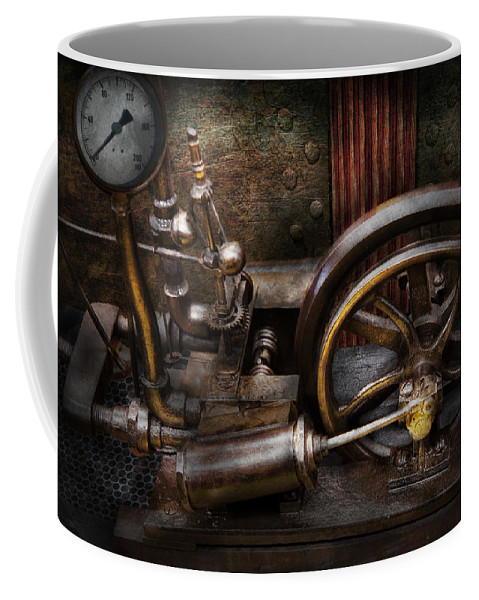 Hdr Coffee Mug featuring the photograph Steampunk - The Contraption by Mike Savad