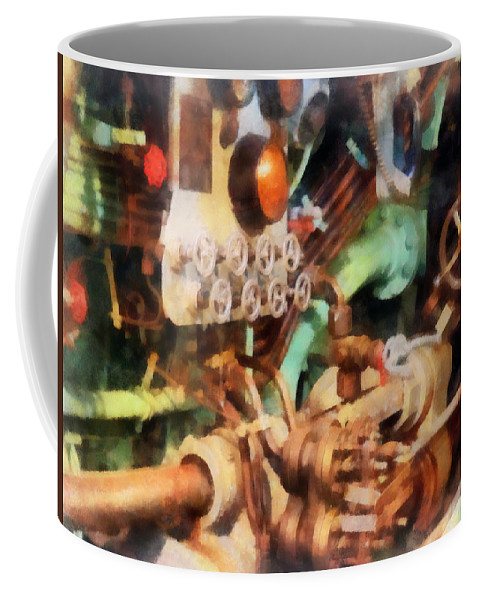 Steampunk Coffee Mug featuring the photograph Steampunk - Torpedo Controls by Susan Savad