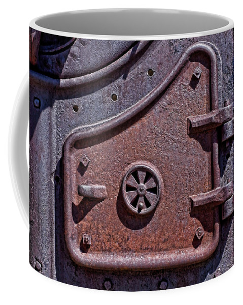Texture Coffee Mug featuring the photograph Steel Door by Kelley King