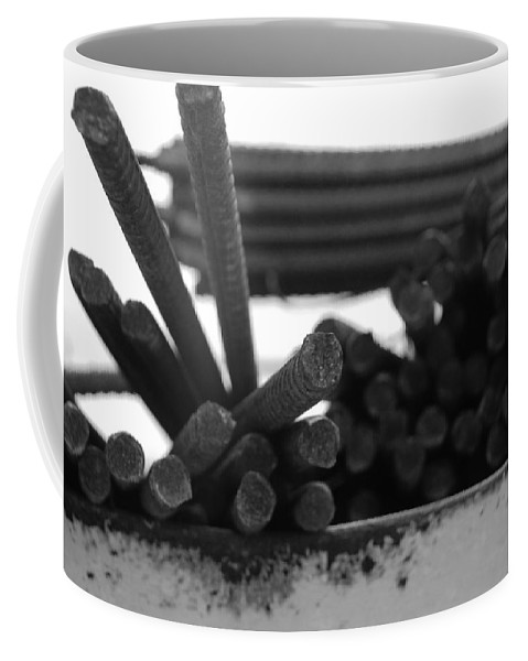 Black And White Coffee Mug featuring the photograph Steele Rods by Rob Hans