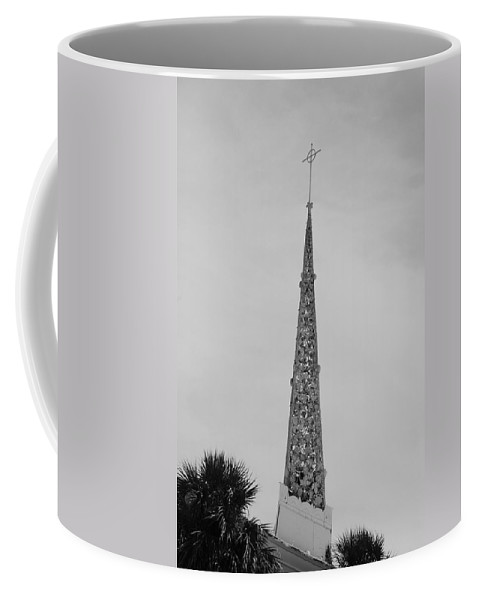 Black And White Coffee Mug featuring the photograph Steeple Cross In Black And White by Rob Hans
