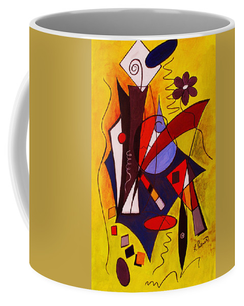 Abstract Coffee Mug featuring the painting Step Lively Now by Ruth Palmer
