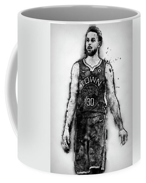 Steph Coffee Mug featuring the painting Steph Curry, Golden State Warriors - 18 by Andrea Mazzocchetti