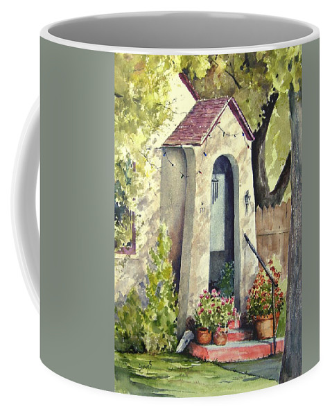 Door Coffee Mug featuring the painting Stephanie's Porch by Sam Sidders