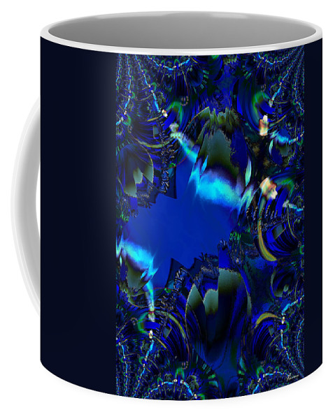 Color Blue Black Busy Woman Digital Drawing Sea Ocean Water Coffee Mug featuring the digital art Steppin Out by Andrea Lawrence