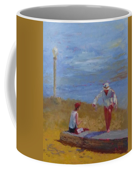 Sea Scape Coffee Mug featuring the painting Stepping Up by Irena Jablonski