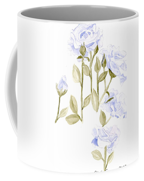 Blue Roses Coffee Mug featuring the painting Sterling Roses by Alexis Grone