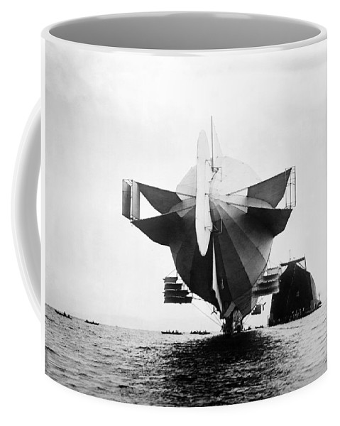 Zeppelin Coffee Mug featuring the photograph Stern Of Zeppelin Airship - 1908 by War Is Hell Store