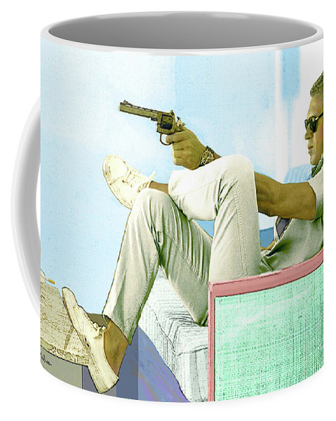 Steve Mcqueen Coffee Mug featuring the mixed media Steve McQueen, Colt revolver, Palm Springs, CA by Thomas Pollart