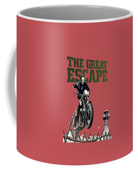 Steve Mcqueen On Motorcycle The Great Escape Poster 1963 Color Added 2016 Coffee Mug featuring the photograph Steve Mcqueen On Motorcycle The Great Escape Poster 1963 Color Added 2016 by David Lee Guss