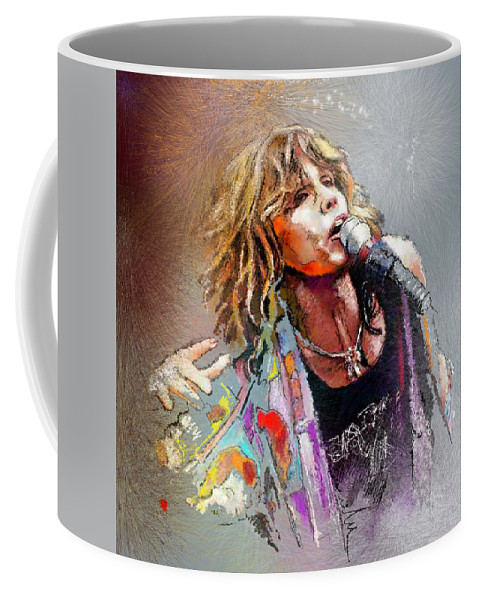 Musicians Coffee Mug featuring the painting Steven Tyler 02 Aerosmith by Miki De Goodaboom