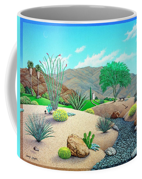 Desert Coffee Mug featuring the painting Steves Yard by Snake Jagger