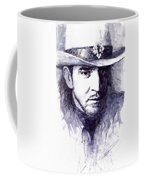 Guitarist Coffee Mug featuring the painting Stevie Ray Vaughan by Yuriy Shevchuk