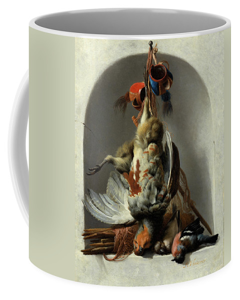 Hunting Motifs Coffee Mug featuring the painting Stil Life With Birds And Hunting Gear In A Niche by Melchior de Hondecoeter