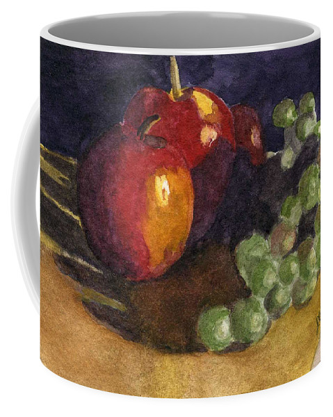 Watercolor Coffee Mug featuring the painting Still Apples by Lynne Reichhart